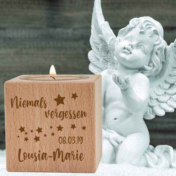Teelichthalter Kerzenwürfel Trauer Niemals vergessen