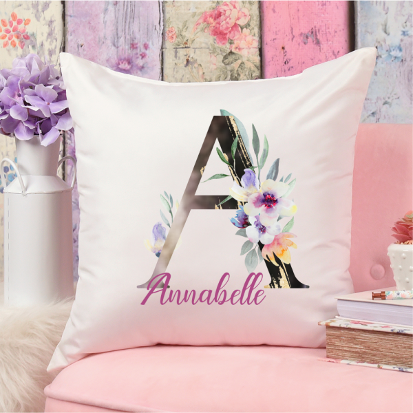 Namenskissen Buchstabenkissen Floral Initialen modern