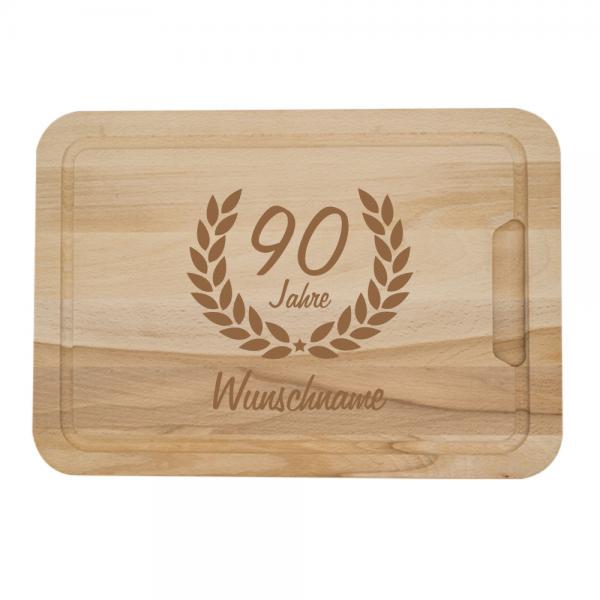 Personalisiertes Schneidebrett zum 90. Geburtstag -Ehrenranke