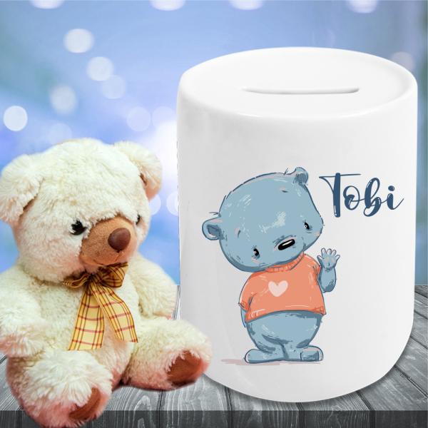 Spardose für Kinder teddy mit Wunschnamen