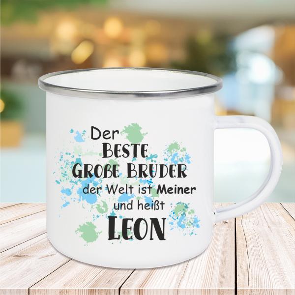 Emaille Tasse Der beste große Bruder... mit Wunschnamen