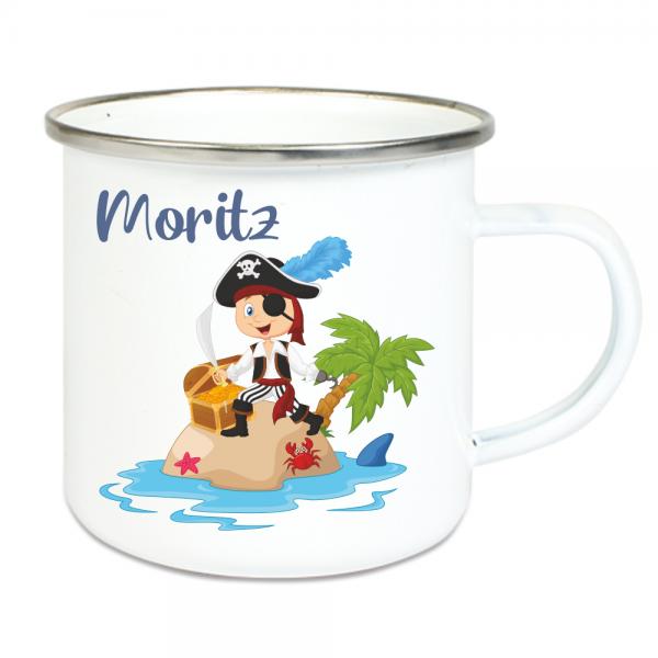 Emaille Tasse für Kinder mit Deinem Namen - Pirat