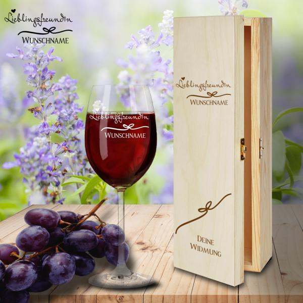 Geschenk Box und Rotweinglas von Leonardo Lieblingsfreundin mit Namensgravur