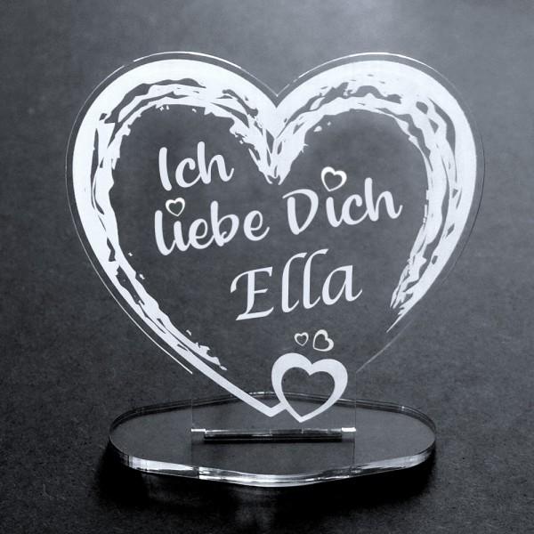 Acryl-Herz mit Deinem Wunschnamen Ich liebe Dich