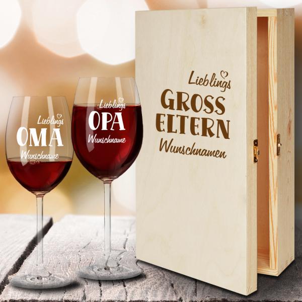 Geschenkbox Rotweingläser von Leonardo mit Gravur Lieblings-Großeltern