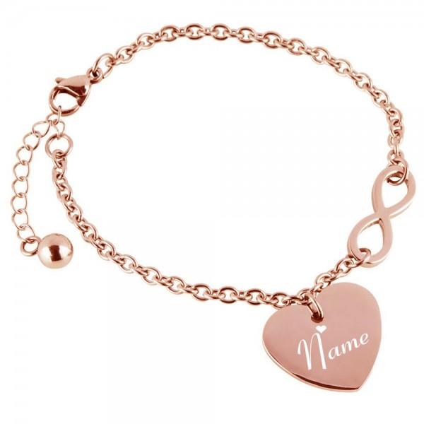 Herz-Armband mit Gravur Infinity rosegold