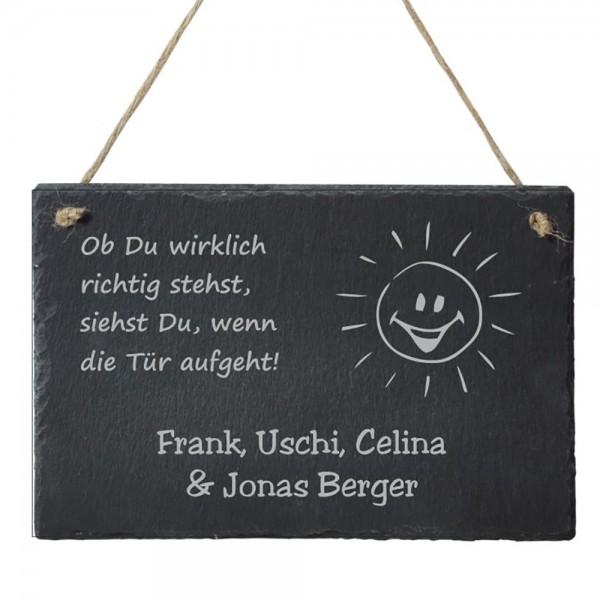 Türschild Schiefer mit deinem Wunschnamen - Ob Du wirklich richtig stehst...