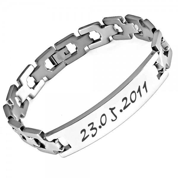 Trendgravur Edelstahl-Armband Living