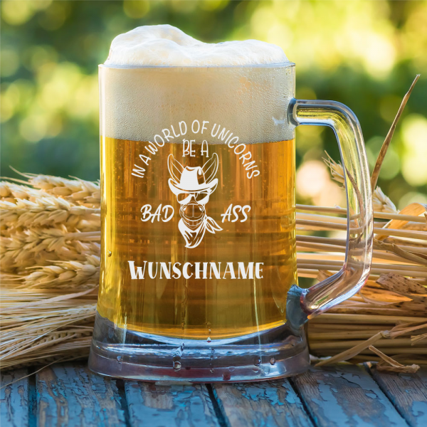 Bierkrug 0,5l Bad Ass mit Deinem Namen