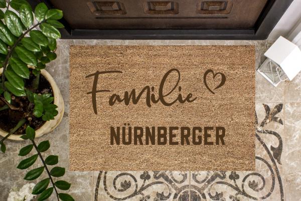 Fussmatte Familie mit Deinem Wunschnamen