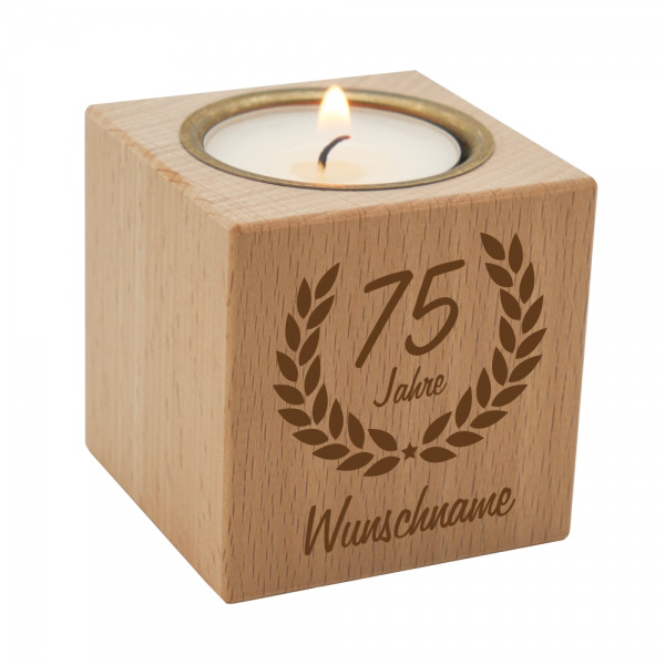 Teelichthalter Ehrenranke aus Holz zum 75. Geburtstag