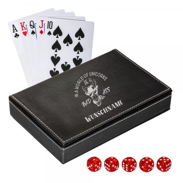 Personalisiertes Spielkarten Set mit Box - Bad Ass mit  Deinem Wunschnamen