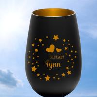 personalisiertes Windlicht Erinnerungslicht  - Sterne & Herzen in schwarz-gold