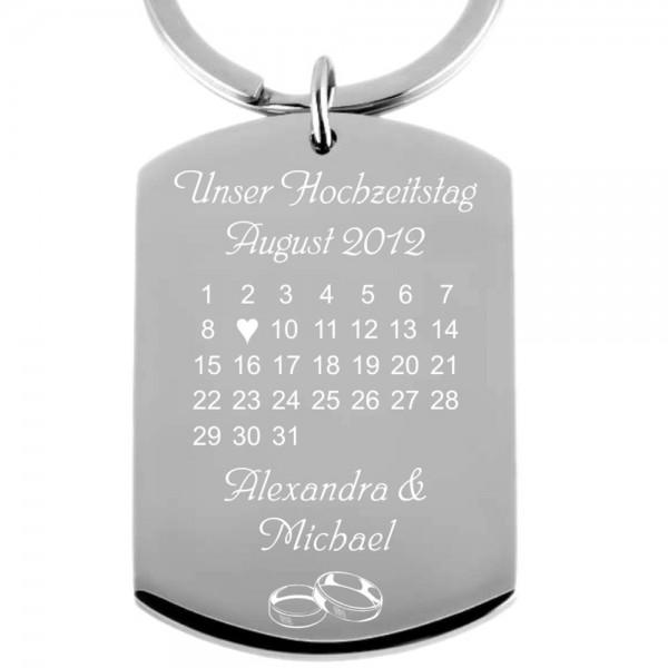 Edelstahl-Schlüsselanhänger mit Gravur Kalender Hochzeitstag