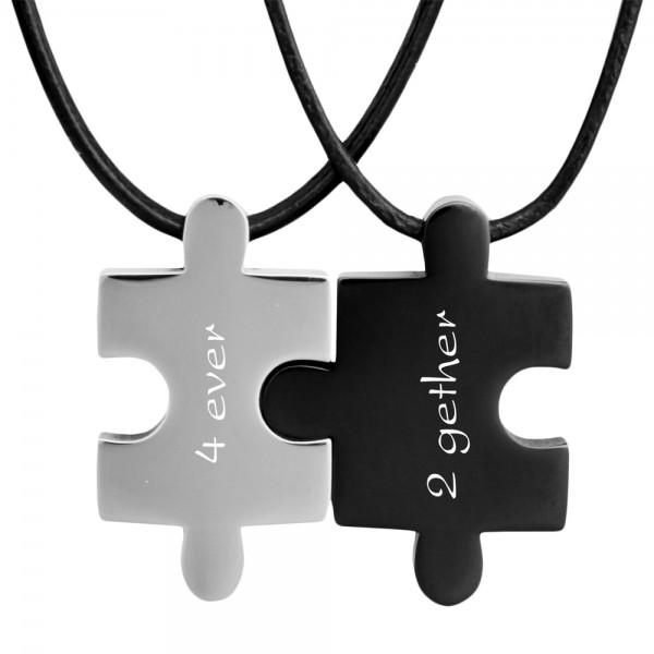 Partner-Anhänger Puzzle mit Gravur silber schwarz