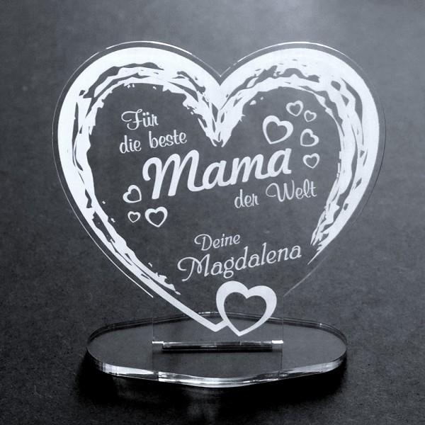 Acryl-Herz mit Namensgravur für die Beste Mama