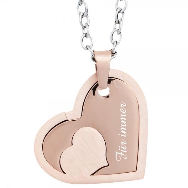 Gravuranhänger Herz mit Herz rosegold
