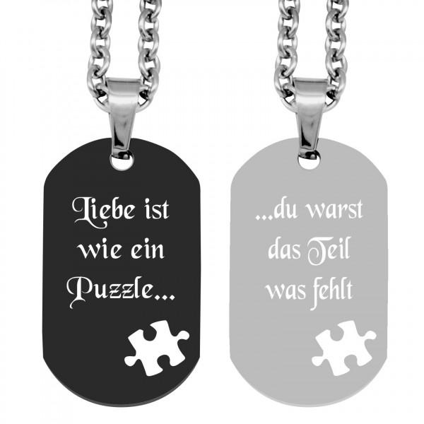 Partner-Anhänger mit Gravur DogTag Puzzle schwarz silber