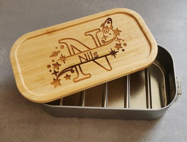 Brotdose für Kinder Lunchbox Metall mit Holzdeckel Monogramm für Jungen