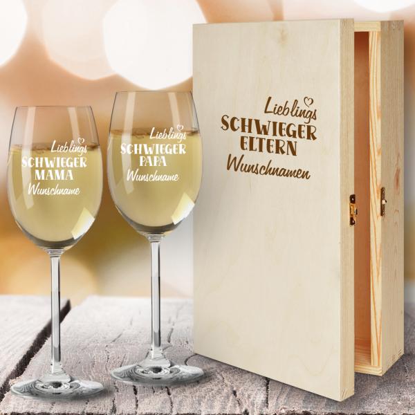Geschenkbox Weißweingläser von Leonardo mit Gravur Lieblings-Schwiegereltern
