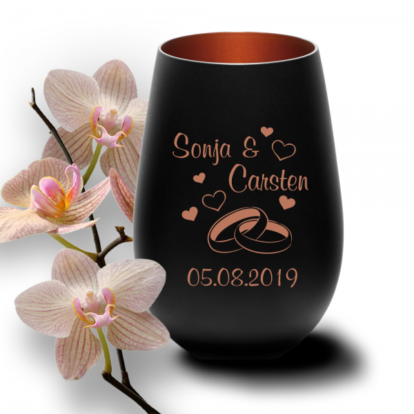 personalisiertes Windlicht zur Hochzeit - Motiv Ringe Herzen in der Trendfarbe schwarz-bronze