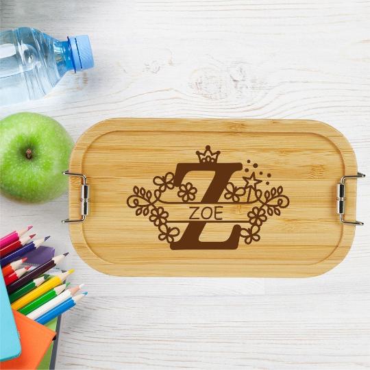 personalisierte Brotdose Kinder Lunchbox Metall mit Holzdeckel Monogramm für Mädchen