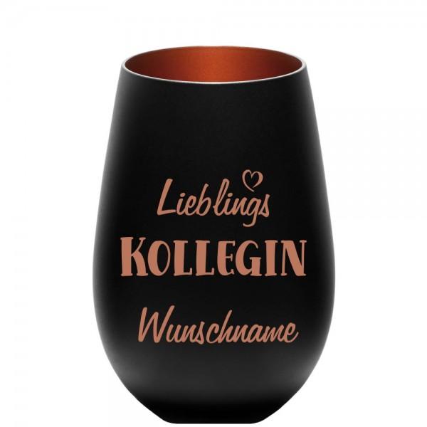 "Deko-Windlicht ""Lieblings-Kollegin"" mit Wunschnamen schwarz-bronze"
