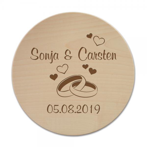 Pizzateller mit Gravur Ringe mit Wunschnamen und Datum