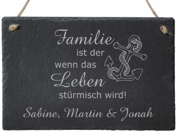 Türschild Schiefer mit Gravur - Familie