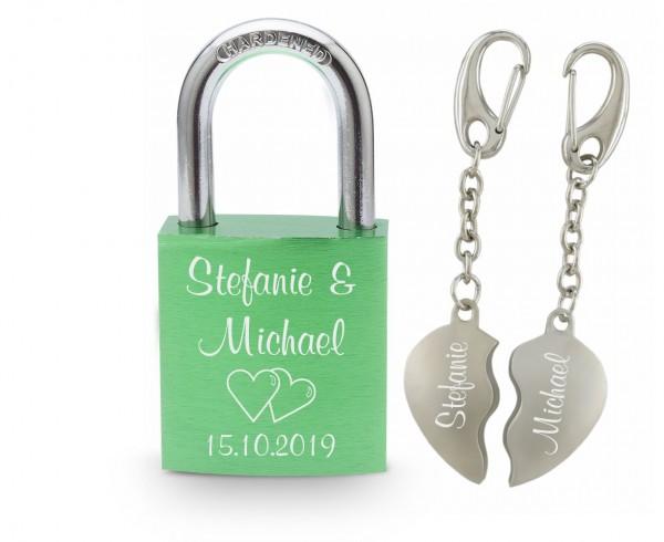 Liebesschloss mit Gravur grün+ Partner-Schlüsselanhänger geteilte Herzen mit Gravur-