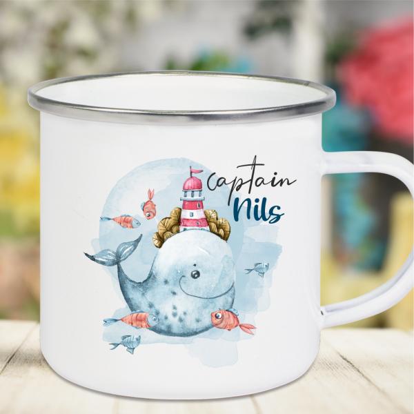 Emaille Tasse Kinder mit Deinem Namen -Wal