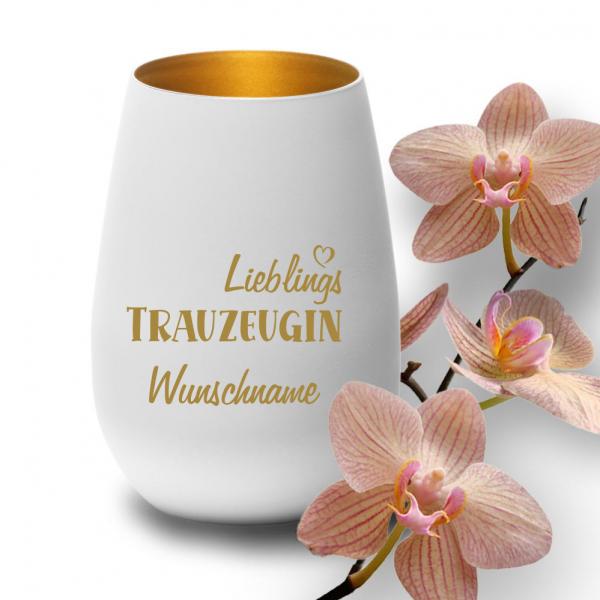 """Deko-Windlicht """"Lieblings-Trauzeugin"""" mit Wunschnamen in weiss-gold"""