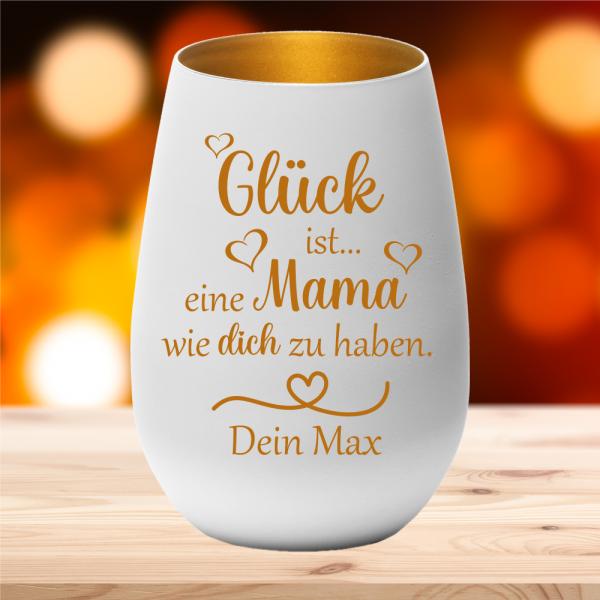 Windlicht Glück ist eine Mama... mit Deinem persönlichen Wunschnamen
