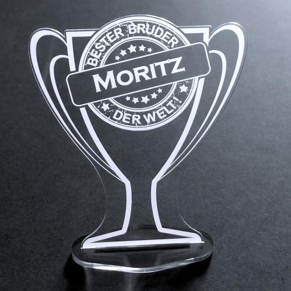 "Acryl-Pokal mit Namensgravur ""Bester Bruder"""