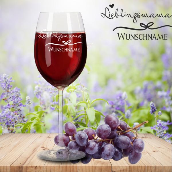 Rotweinglas von Leonardo Lieblingsmama mit Namensgravur