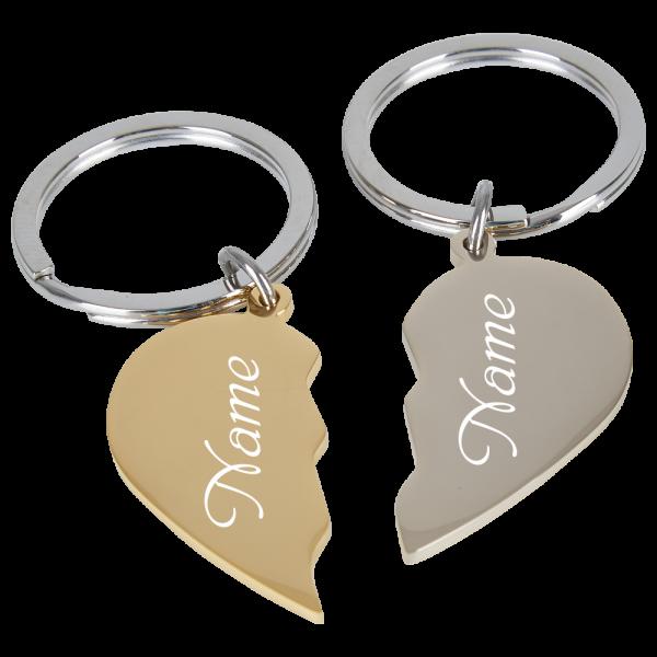 Edelstahl-Schlüsselanhänger geteilte Herzen gold-silber