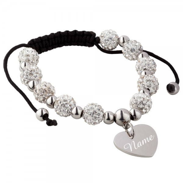 Trendgravur Shamballa-Armband mit Gravur Strass-Perlen