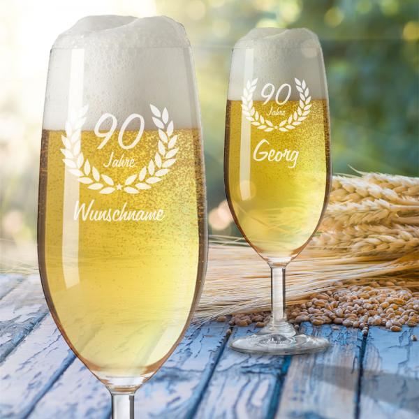 Bierglas mit Gravur zum 90. Geburtstag