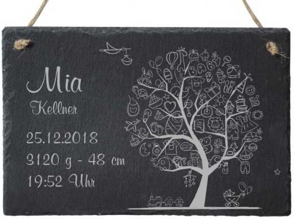 Dekoschild Schiefer mit Namen zur Geburt- Baby-Baum