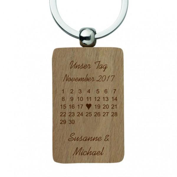 Schlüsselanhänger mit Gravur Holz-Kalender