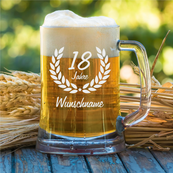 Personalisierter Bierkrug zum 18. Geburtstag