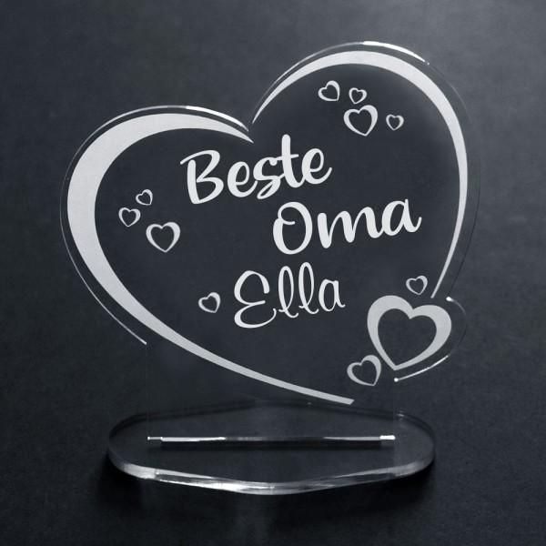 Acryl-Herz für die Beste Oma + Wunschname