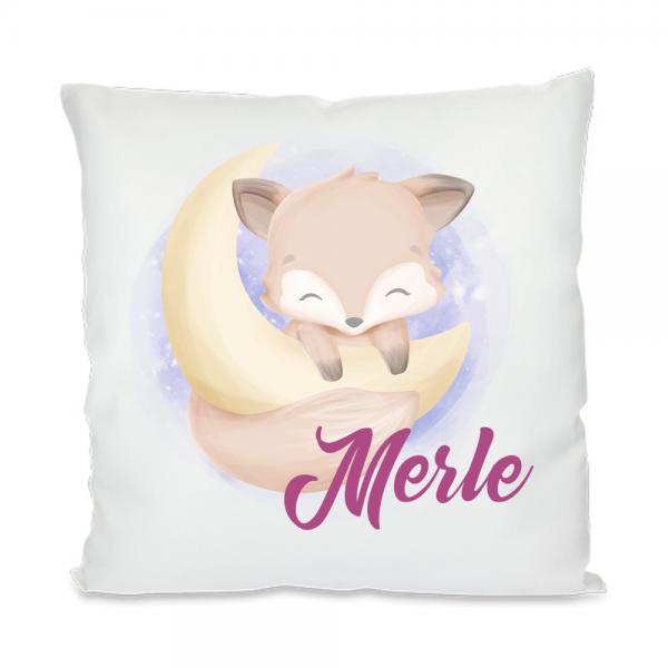 Schlafkissen für Kinder- Fuchs hängt am Mond für Mädchen