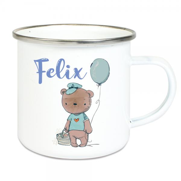 Emaille Tasse Kinder mit Deinem Namen - Teddy