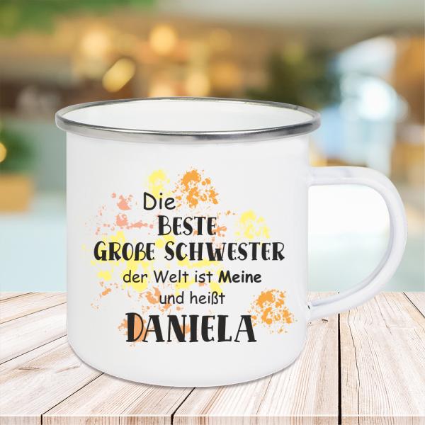 Emaille Tasse Die beste große Schwester... mit Wunschnamen
