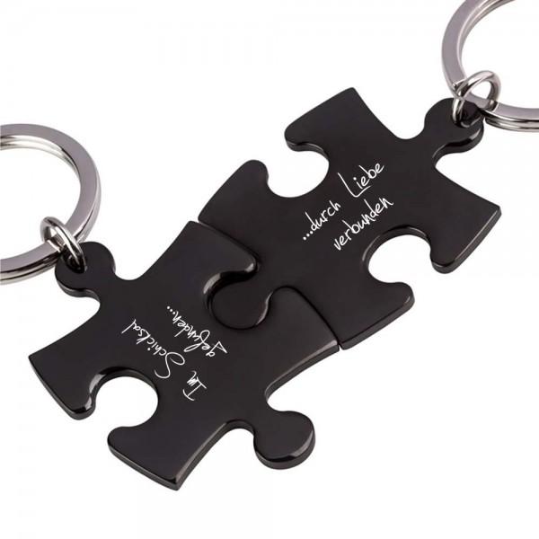 Trendgravur Partner-Schlüsselanhänger mit Gravur Puzzle schwarz