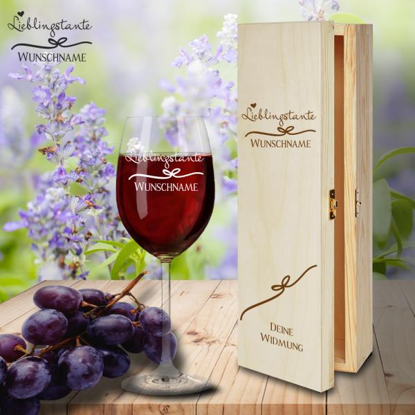 Geschenk Box und Rotweinglas von Leonardo Lieblingstante mit Namensgravur