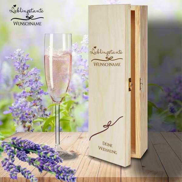 Geschenkbox Lieblingstante mit Sektglas von Leonardo und Gravur