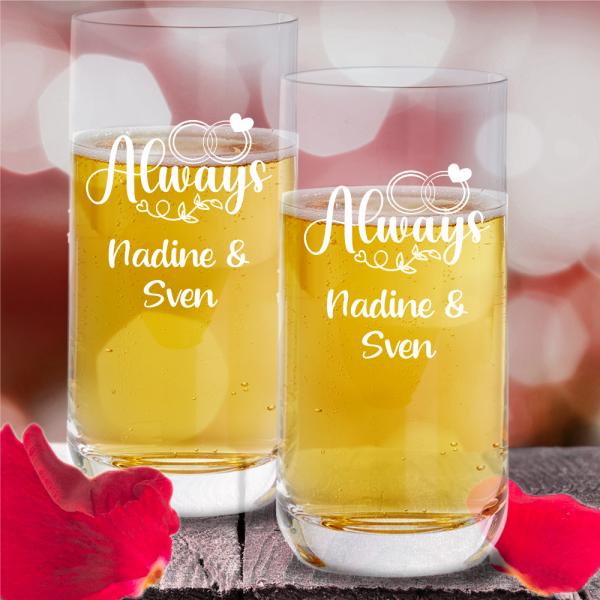 personalisiertes Trinkglas-Set Always mit Wunschnamen