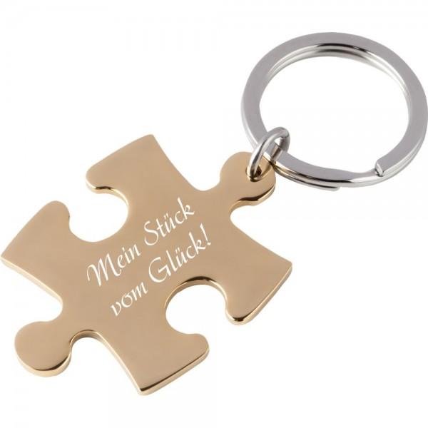 Edelstahl-Schlüsselanhänger mit Gravur Puzzle gold